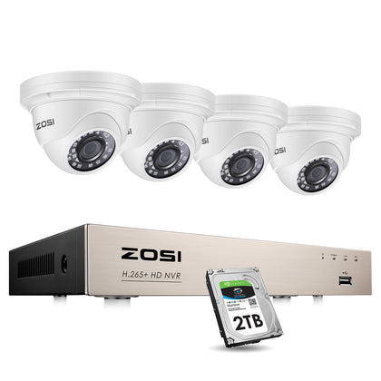 8 Channel 5MP PoE Dome Camera System, 80ft Infrared Night Vision, Pre-installed 2TB Hard Drive