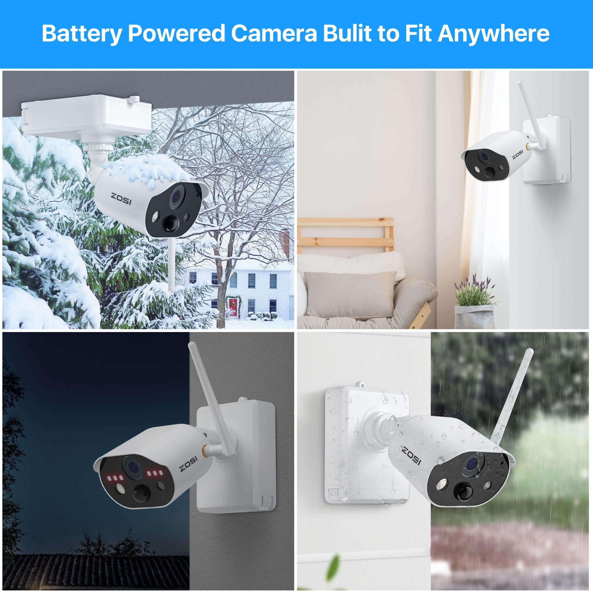 C301 100% Wireless Security Camera System, 4 Channel NVR, Motion-Triggered Light & Siren Alarm, Rechargeable Battery Powered Camera, Two Way Audio