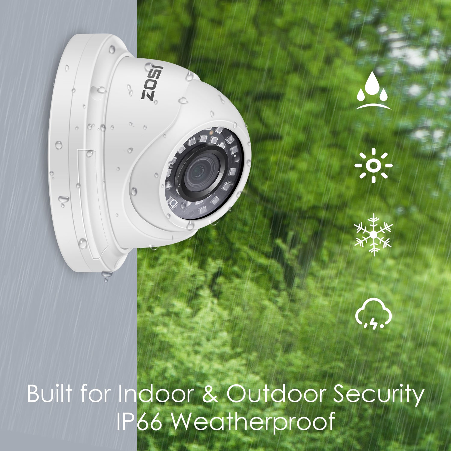 Add-on Camera, 4PCS 5MP Dome Camera, 80ft Infrared Night Vision, Only for ZOSI PoE Security