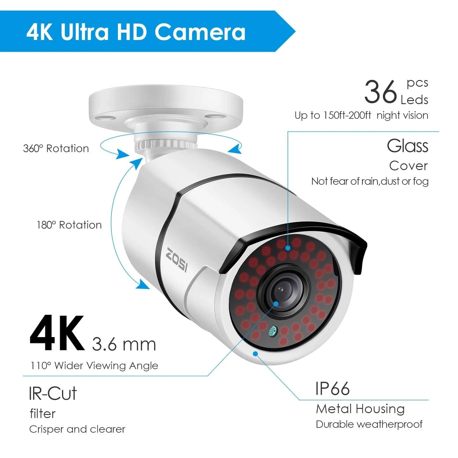Add-on Security Cameras, 4K Bullet Security Camera, Only for ZOSI 4K DVR Security