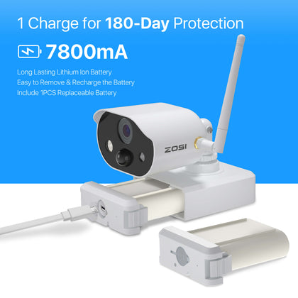 100% Wire Free Security System, C301 Motion-Triggered Battery Powered Camera, Light & Siren Alarm, Two Way Audio