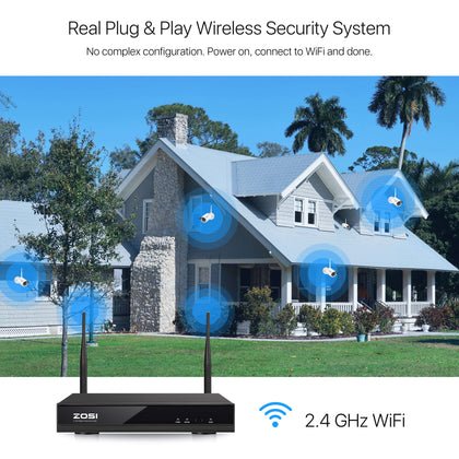 1080P Wireless Security Camera System, H.265+ 8 Channel NVR, 1080P WiFi IP Camera, 80ft Infrared Night Vision, Smart Motion Detection
