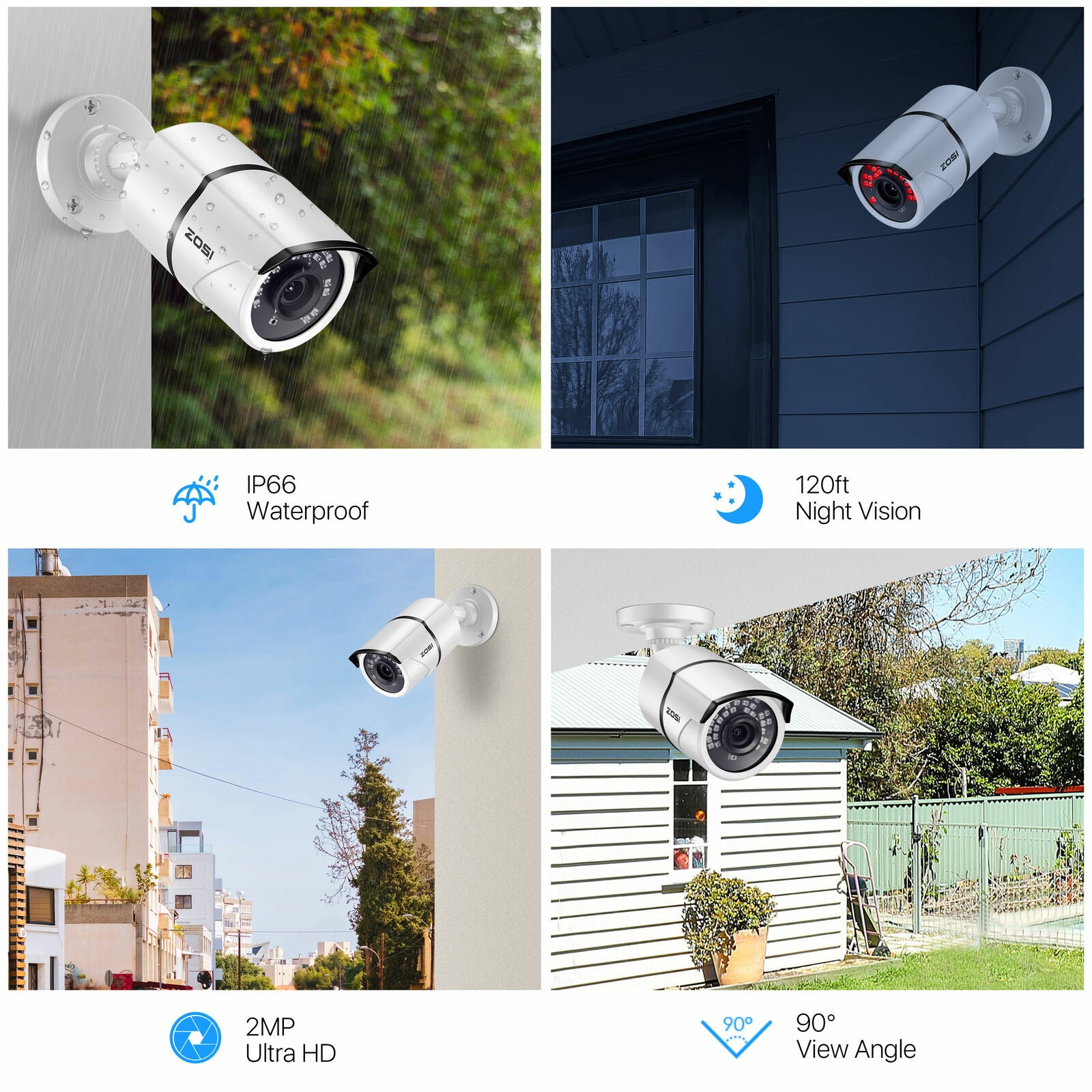 8 Channel 1080P Security System, H.265+ Video Compression, Weatherproof IP66 Bullet Camera