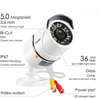 5MP Security Camera System, H.265+ Video Compression, Weatherproof IP67, 120ft Infrared Night Vision