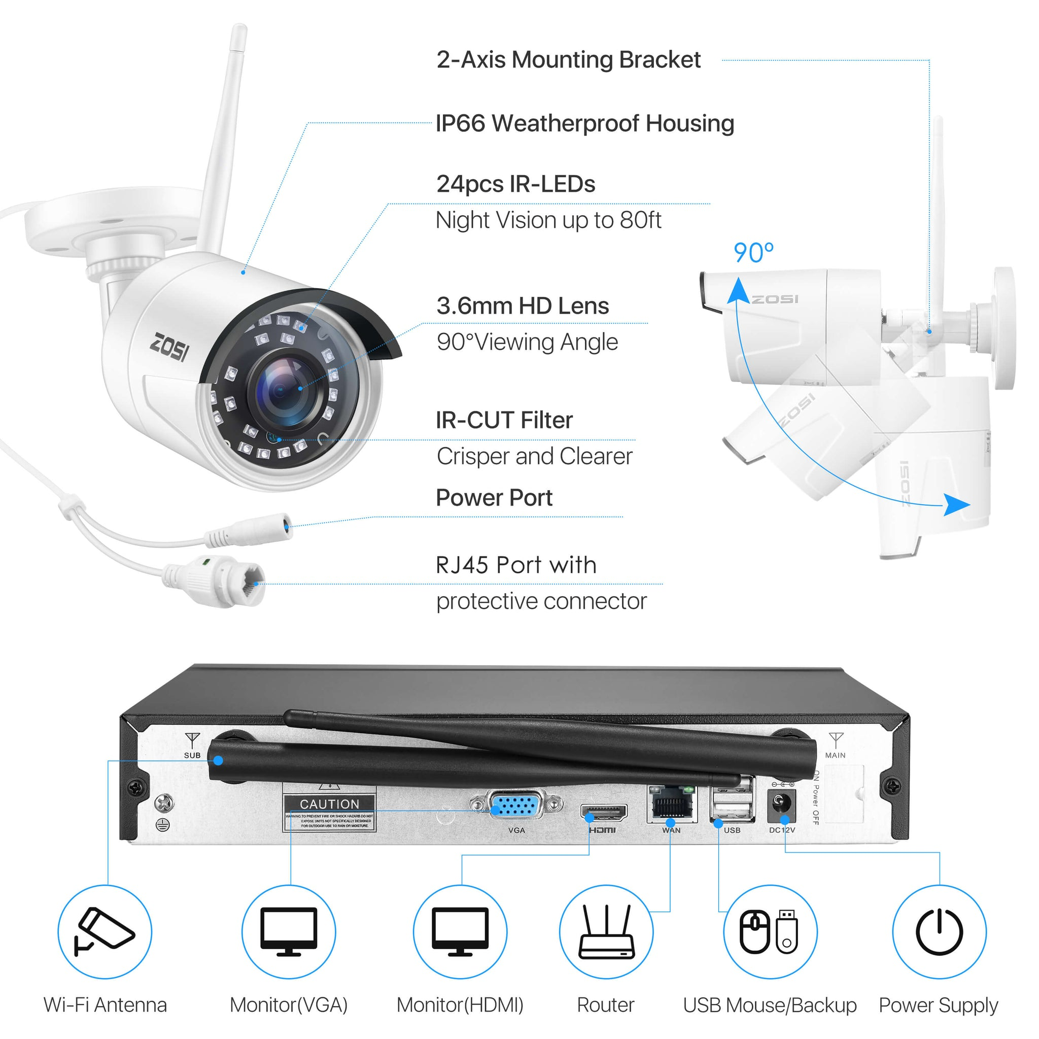 Wireless Security Camera System, H.265+ 8 Channel NVR, 1080P WiFi IP Camera, Indoor Outdoor Surveillance