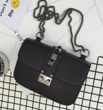 Classic fashion casual style black rivet snake bone chain shoulder bag ladies handbag shoulder bag flap crossbody messenger bag