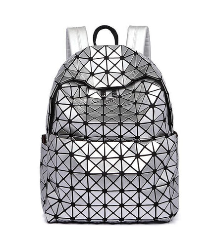 New Fashion Women's Backpack Geometric Shoulder Bag Student's School Bag Backpack Hologram Bag baobao bag style