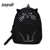 Lovely Cat Print Canvas Backpack School Bags For Teenagers Ladies Casual Cute Rucksack