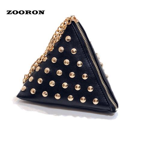 Bags 2017 Rivets Chain HandbagsTriangle Bag Lady Arm Totes Zipper Pockets