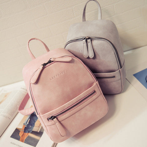 Women Backpack New Fashion Casual PU Leather ladies feminine backpack Candy color Korea school style