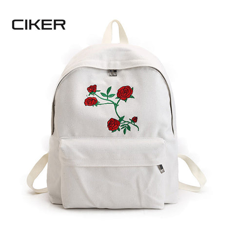 Canvas backpack cute fashion rose printing backpacks for teenagers
