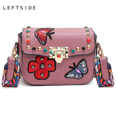 2017 Handbag Crossbody Handbags Small Rivet Butterfly Flower Embroidery  Messenger Bag