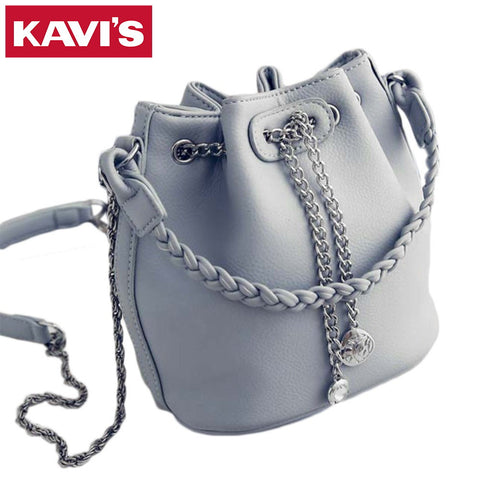 2017 New Fashion Women Chain Bucket Bag Korean Style Female Woven Handbag Casual Ladies Shoulder Bag Women's Messenger Bag