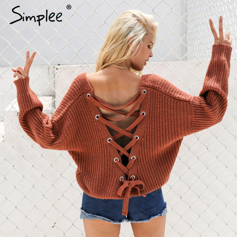 Simplee Sexy backless knittied pullover Fashion lace up Fall winter sweater women tops Casual hollow out jumper pull femme