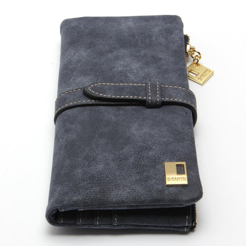 Wallets Drawstring Nubuck Leather Zipper Wallet Women's Long Design Purse Two Fold More Color Clutch
