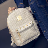 Leather Women Backpack with Knitting Rivet Japan Korean Style Rucksack Teenager Girl