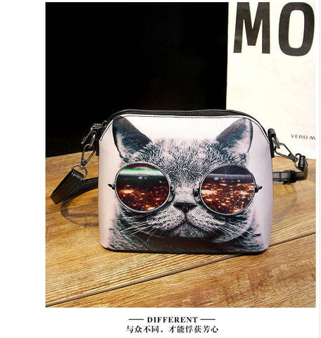 Hot sale 2016 Cats Printing women Handbags Shell bag women PU leather messenger bags new arrival women cross-body bags WLHB1116