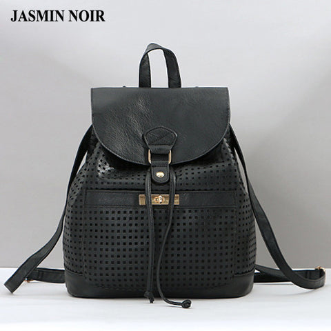 Simple black PU hollow out backpack female