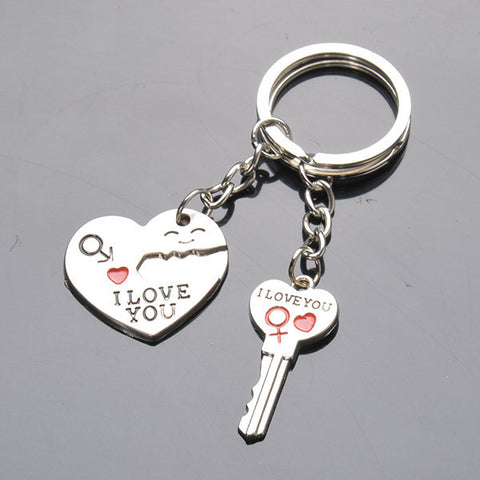 I LOVE YOU Heart Keychain Keyring Key Chain Creative Gift  2 Parts/ set