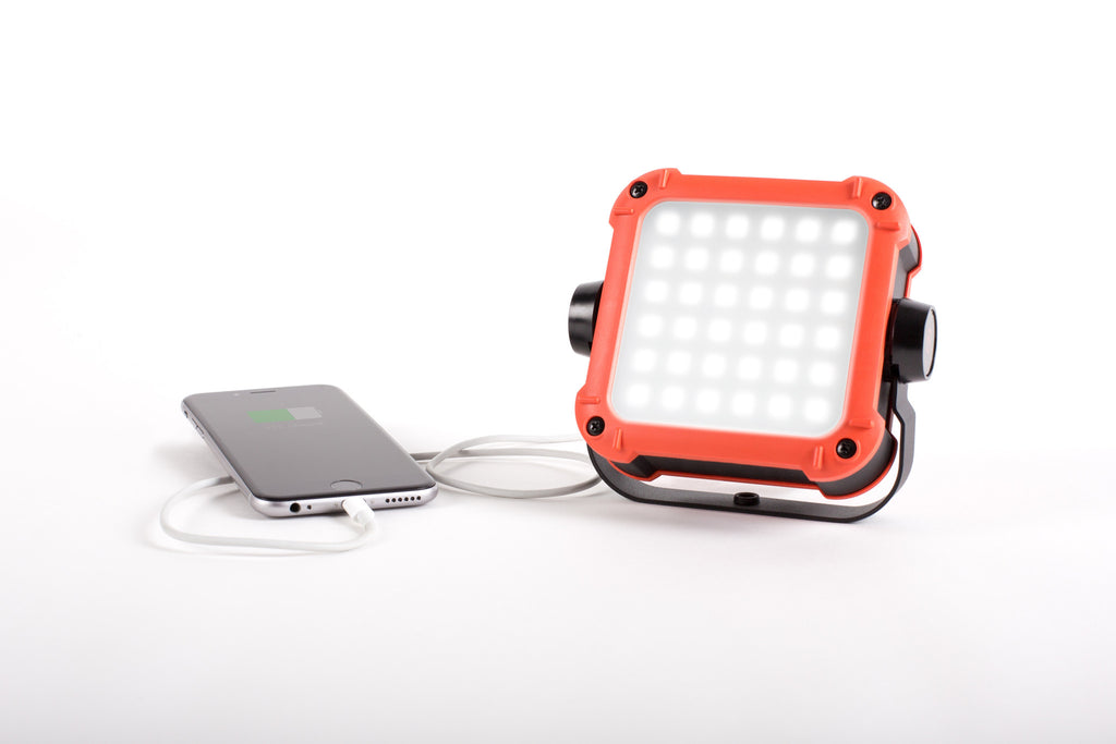 LED light doubles as portable battery pack