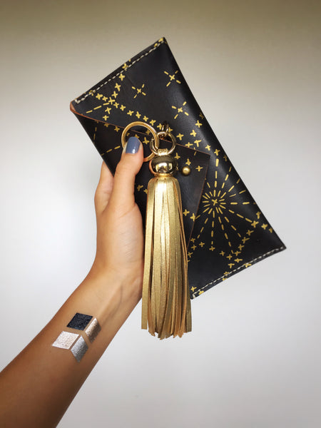 Formative Designs Leather Clutch and Gold Tassle