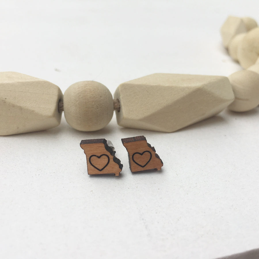 State of Missouri Wood Stud Post Earrings