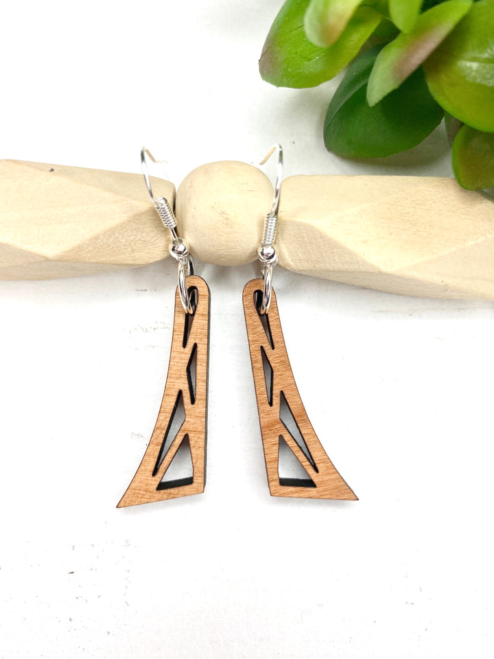 #6 Make It & Claim It Dangle Geometric with Lines Cherry Wood Dangle Earrings
