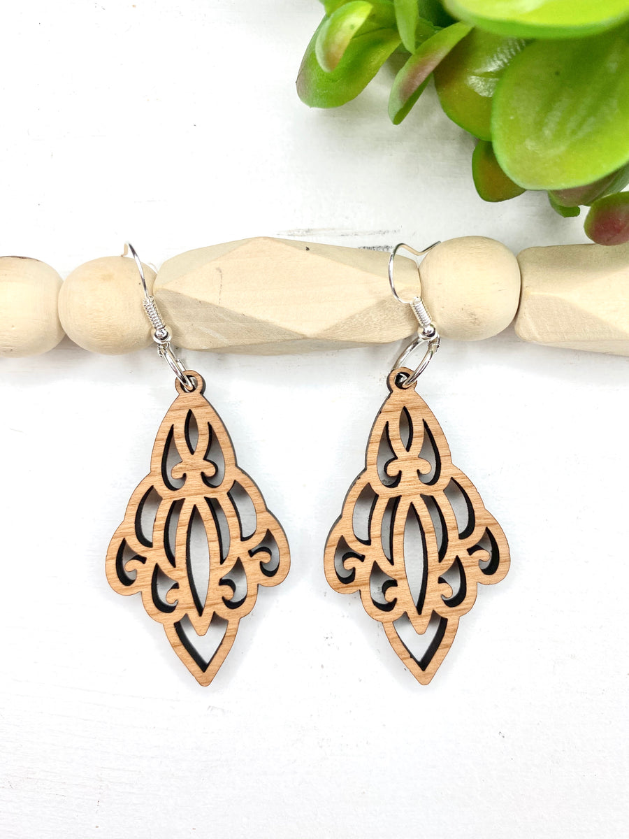 #5 Make It & Claim It Chandelier Cherry Wood Dangle Earrings
