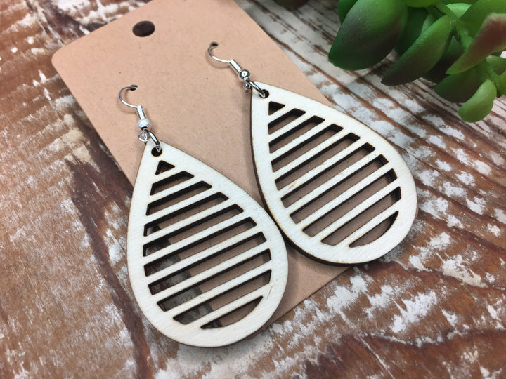 Large Laser Cut Wood Earrings