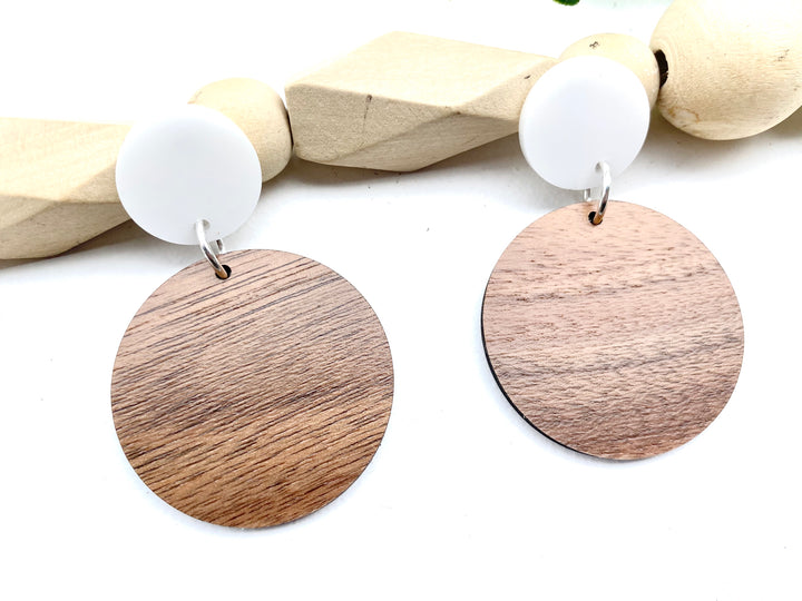 Double Circle Walnut and White Acrylic Earrings