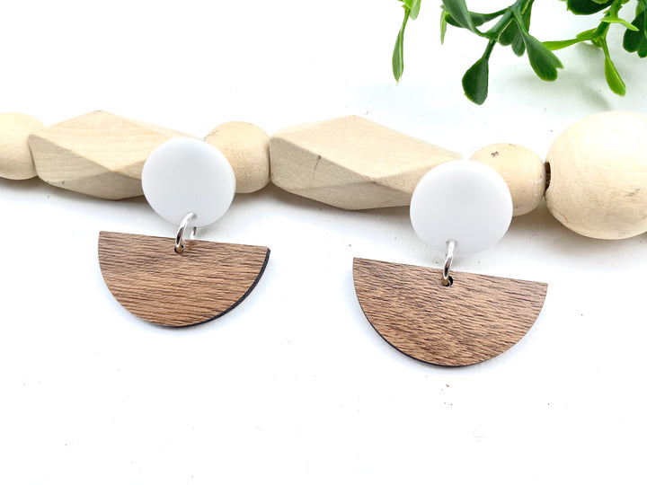 Half Circle Crop Earrings Walnut and White Acrylic