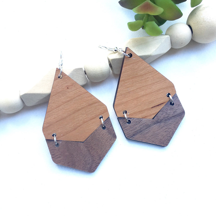 Cherry and Walnut Geometric Dangle Earrings, Drop Light Weight Earrings, Jewelry Gift for a Woman Birthday Thank You