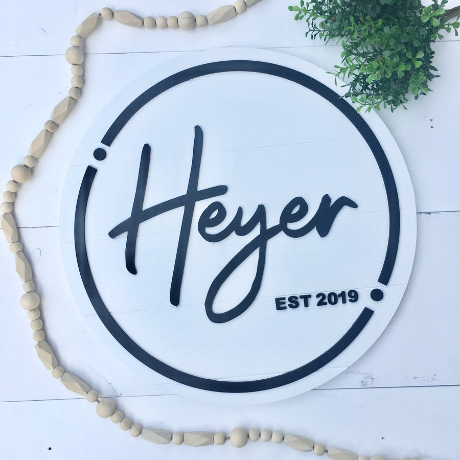 Personalized Round Established Name Sign