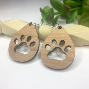 Dog Paw Cherry Wood Dangle Earrings