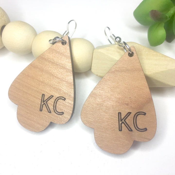 Kansas City Cherry Wood Dangle Earrings