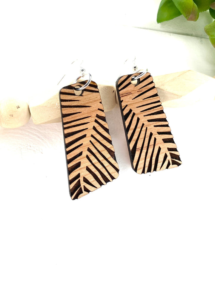 Tropical Leaf Dangle Wood Earring
