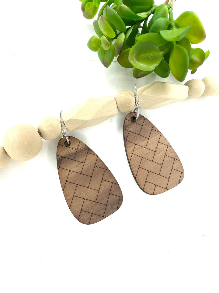 Walnut Herringbone Drop Dangle Wood Earrings