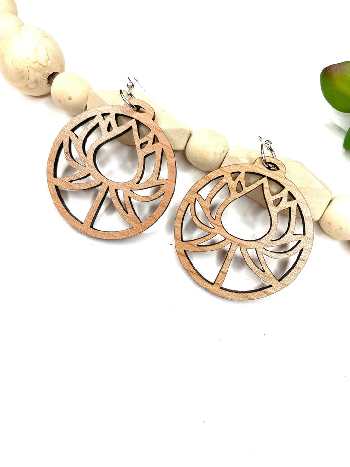 Lotus Flower Dangle Wood Earrings