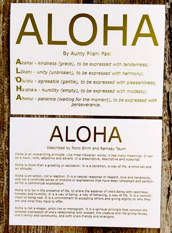 meaning of ALOHA - gold foil card