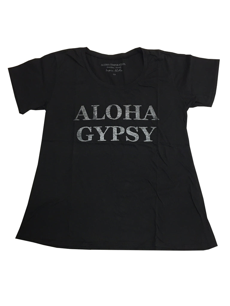 New! ALOHA GYPSY black distressed T-shirt