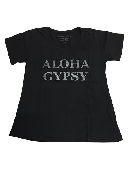 ALOHA GYPSY black distressed T-shirt