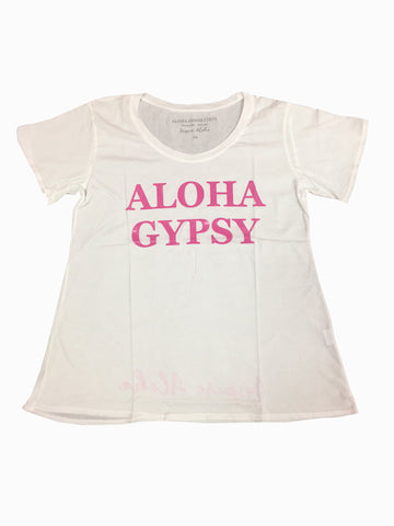 NEW! ALOHA GYPSY white, pink foil T shirt