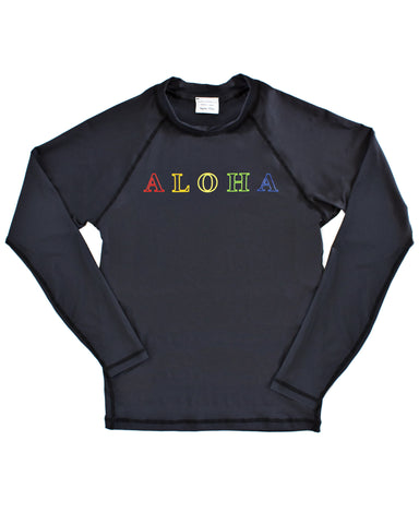 SALE! ALOHA long sleeve rash guard (black or white)
