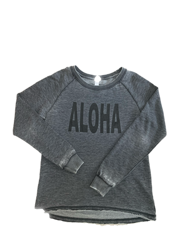 NEW! ALOHA Burnout French Terry Gray Pullover Sweatshirt