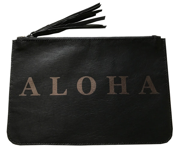 ALOHA Italian leather hand-sewn clutch