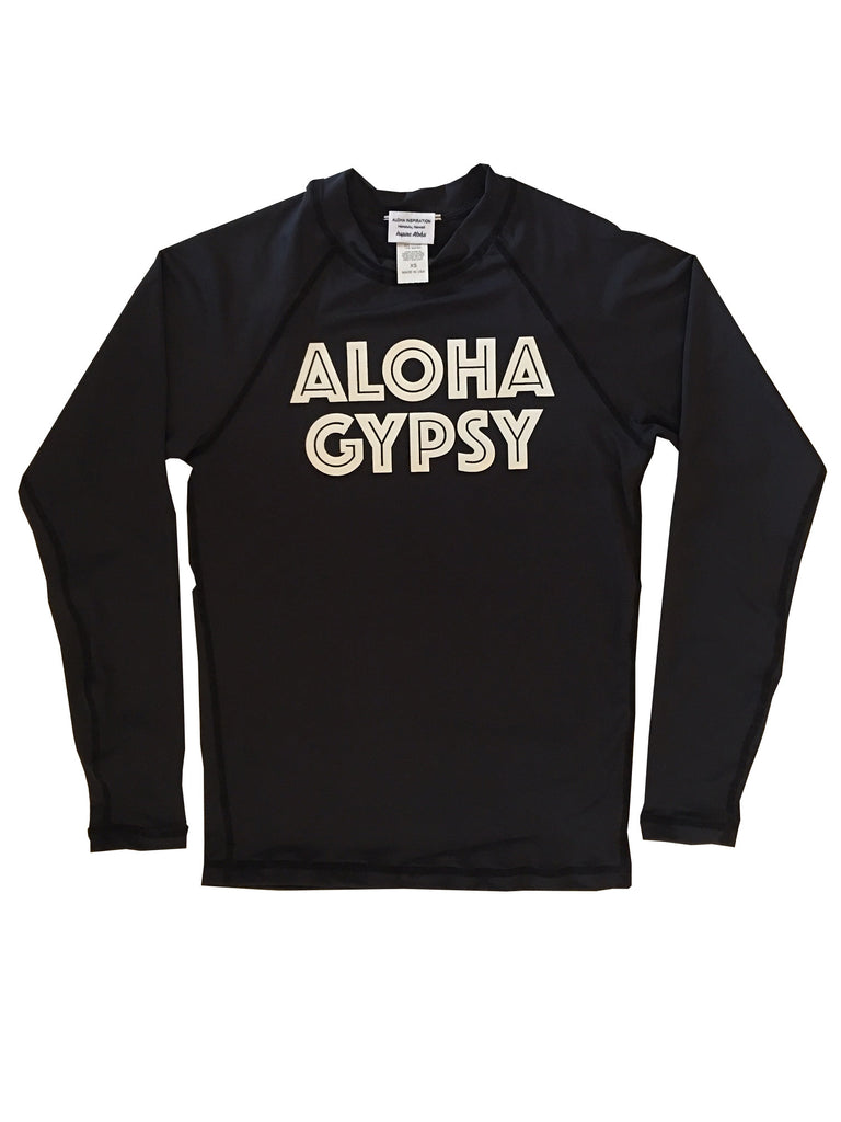 ALOHA GYPSY black long sleeve rash guard