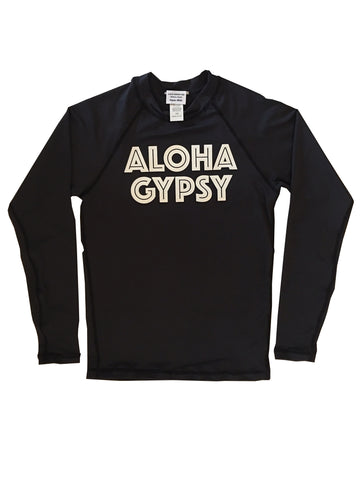 SALE! ALOHA GYPSY black long sleeve rash guard