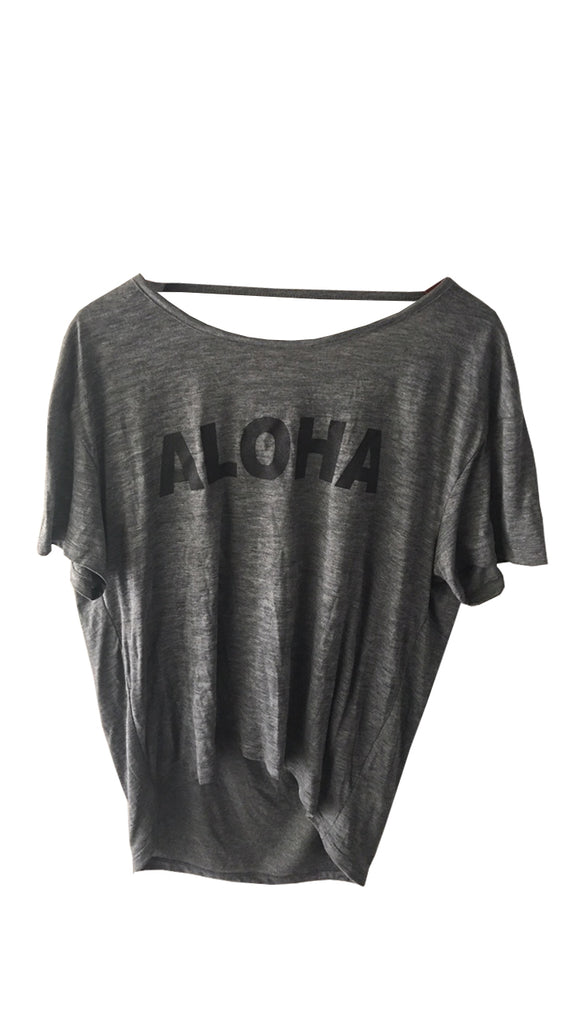 NEW! ALOHA Ash Heather Burn Out T-shirt with Back Strap