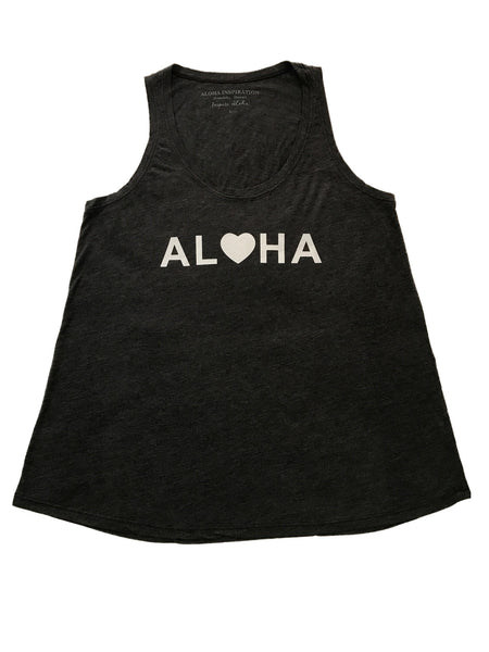 ALOHA dark gray, white foil tank