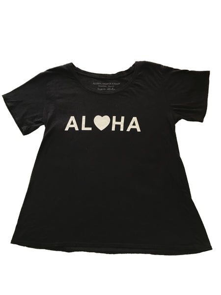 New! ALOHA black, white foil T shirt
